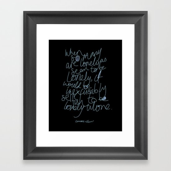 To be lonely alone Framed Art Print