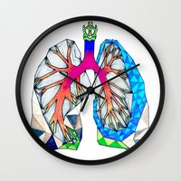 lungs Wall Clocks featuring Lungs by Heidi Failmezger