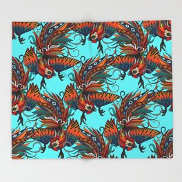 rooster ink turquoise Throw Blanket