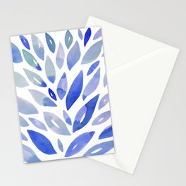 Watercolor floral petals - blue Stationery Cards