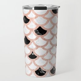 Girly rose gold black white marble mermaid scallop pattern Travel Mug