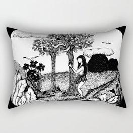 The Garden - Black Rectangular Pillow