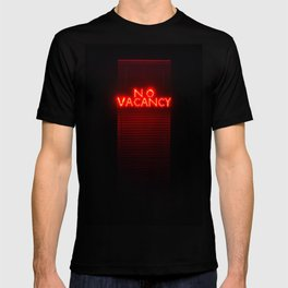 No Vacancy sign in red T-shirt