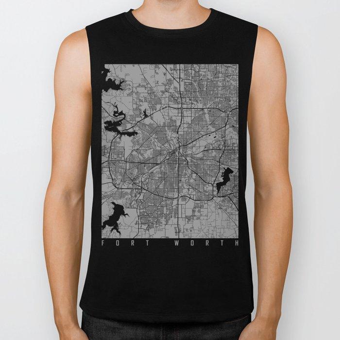 Fort Worth map grey Biker Tank