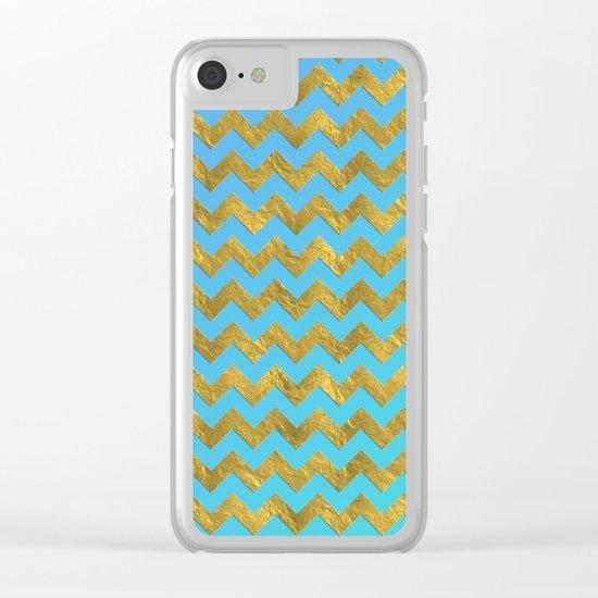 Gold glitter chevron on turquoise backround- pattern Clear iPhone Case