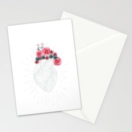 Womens Anatomical Heart graphic Human heart with flowers Stationery Cards