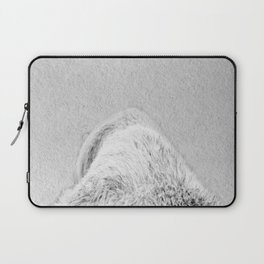 white bear back view  black and white  Laptop Sleeve