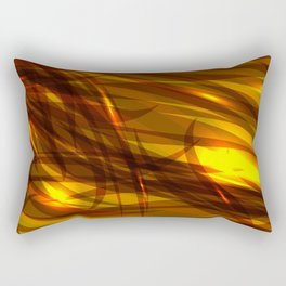 Saturated bronze and smooth sparkling lines of metal tapes on the theme of space and abstraction. Rectangular Pillow