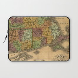 1831 Rhode Island, Connecticut, and Massachusetts Wall Map Laptop Sleeve