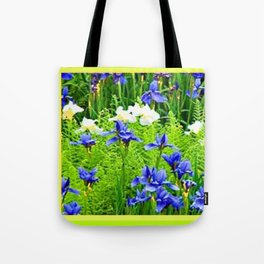 WHITE-BLUE IRIS & CHARTREUSE FERNS GARDEN Tote Bag