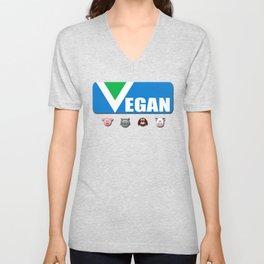 Vegan. Official flag. Text. Animals Unisex V-Neck