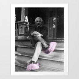 Albert Einstein in Fuzzy Pink Slippers Classic E = mc² Black and White Satirical Photography  Art Print