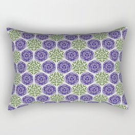 SCION purple blue spring bloom with greenery pattern Rectangular Pillow