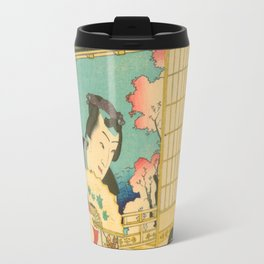 Spring Outing In A Villa Diptych #1 by Toyohara Kunichika Travel Mug