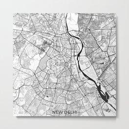 New Delhi Map Gray Metal Print