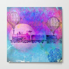 Train in the space Metal Print