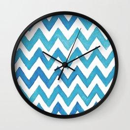 Chevron Blue Wall Clock