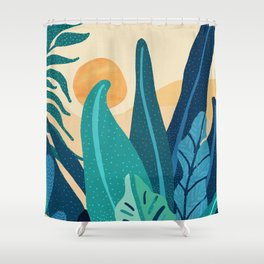 Afternoon Landscape  - Vertical Retro Palette Shower Curtain