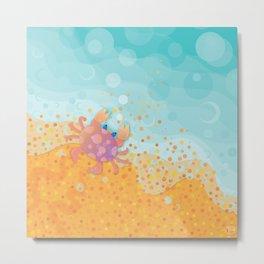 Cute Crab, Aqua Ocean, California Sunshine Metal Print