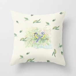 Little Birds & Leaves Throw Pillow