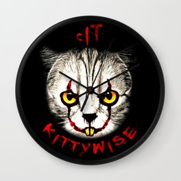 cat clown kittywise vector art Wall Clock