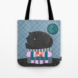Cat sleeping on pillows Tote Bag
