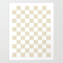 Checkered - White and Pearl Brown Art Print