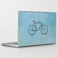 bikes Laptop & iPad Skins featuring I ♥ BIKES by Nucky