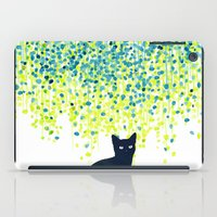 garden iPad Cases featuring Cat in the garden under willow tree by Picomodi