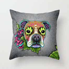 Boxer in White Fawn - Day of the Dead Sugar Skull Dog Throw Pillow