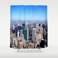 cityscape Shower Curtains featuring Cityscape by Sadie Mae