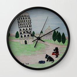 Tower of Pisa - Scottish Terriers Wall Clock