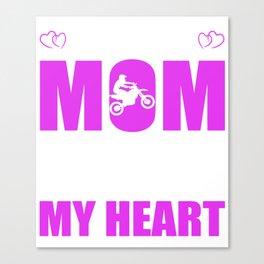 Motocross Moms Full Heart Mothers Day T-Shirt Canvas Print