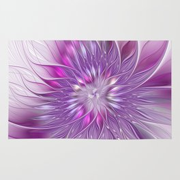 Pink Flower Passion, Abstract Fractal Art Rug
