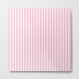 Tiny Triangles Stripes in Pink Metal Print
