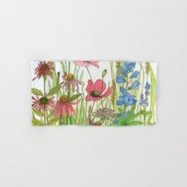 Red Poppy Wildflowers Watercolor Ink  Hand & Bath Towel