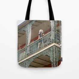 New Orleans Lady Mannequin on a Balcony Tote Bag