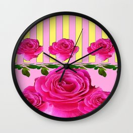 CERISE PINK SPRING  ROSE FLOWERS YELLOW STRIPES  PATTERN Wall Clock