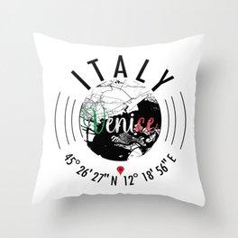 Venice, ITALY Road Map Art - Earth Tones Throw Pillow