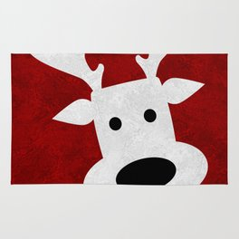 Christmas reindeer red marble Rug