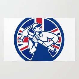 British Joiner Union Jack Flag Icon Rug