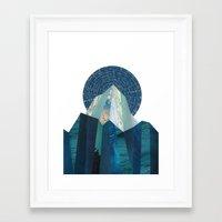heroes of olympus Framed Art Prints featuring Olympus Rising by Positive Prints Studio
