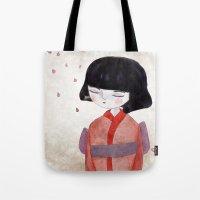 sakura Tote Bags featuring Sakura by munieca