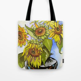 Sunflowers in a Black Vase by Amanda Martinson Tote Bag