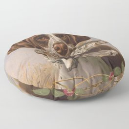 Vintage English Pointer Hunting Quail Painting (1869) Floor Pillow