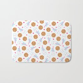 Happy Milk and Cookies Pattern Bath Mat