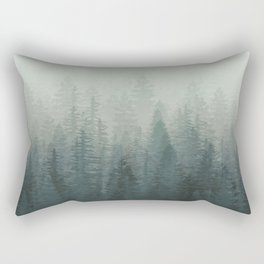 Into The Misty Nature - Turquoise Green Rectangular Pillow