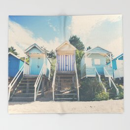 beach huts photograph Throw Blanket