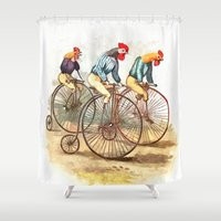 racing Shower Curtains featuring Racing Roosters by Lee Martin