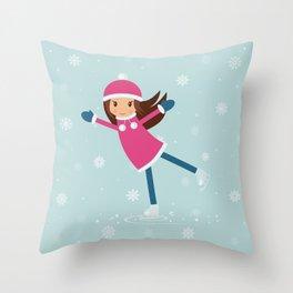 Little girl on skating rink Throw Pillow